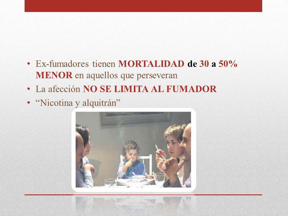 La afección NO SE LIMITA AL FUMADOR Nicotina y alquitrán