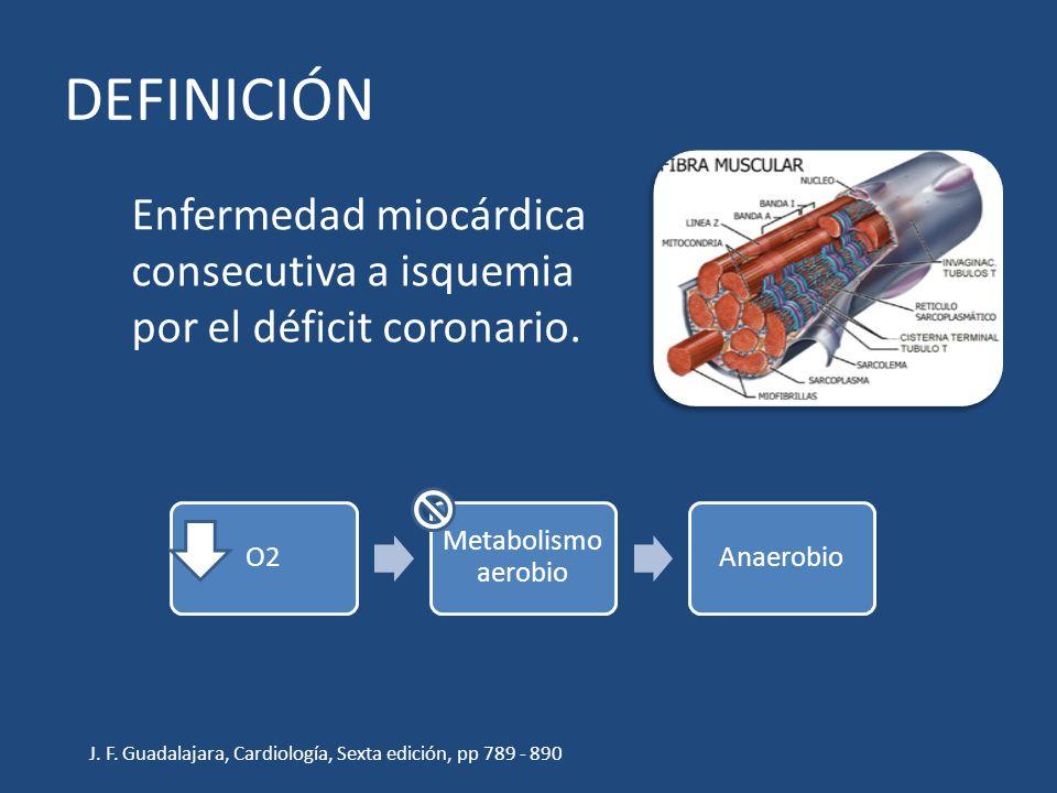 DEFINICIÓN Enfermedad miocárdica consecutiva a isquemia por el déficit coronario. O2. Metabolismo aerobio.
