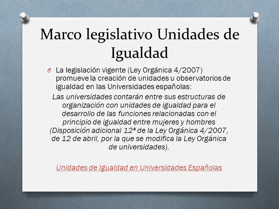 Marco legislativo Unidades de Igualdad