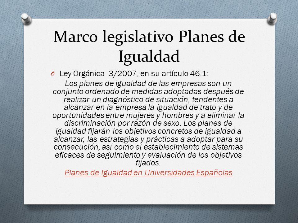 Marco legislativo Planes de Igualdad