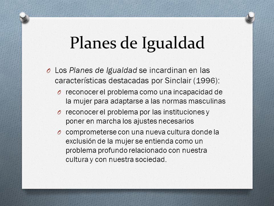 Planes de Igualdad Los Planes de Igualdad se incardinan en las características destacadas por Sinclair (1996):