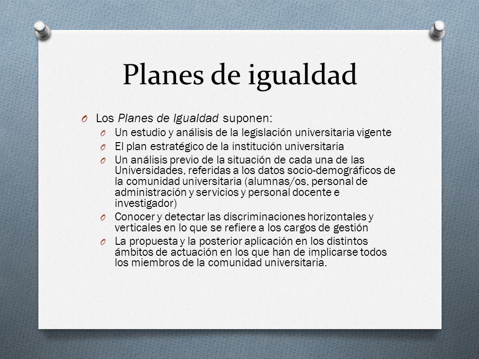 Planes de igualdad Los Planes de Igualdad suponen: