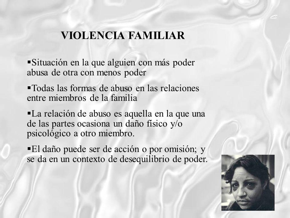 VIOLENCIA FAMILIAR Situación en la que alguien con más poder abusa de otra con menos poder.
