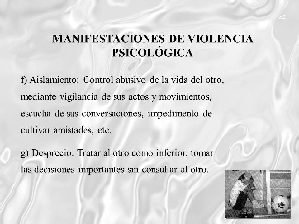 MANIFESTACIONES DE VIOLENCIA PSICOLÓGICA
