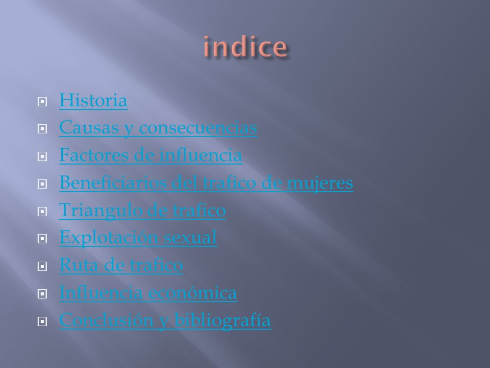 indice Historia Causas y consecuencias Factores de influencia