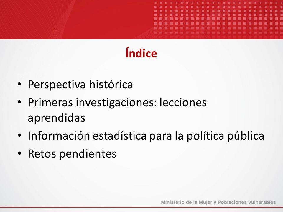 Índice Perspectiva histórica. Primeras investigaciones: lecciones aprendidas. Información estadística para la política pública.