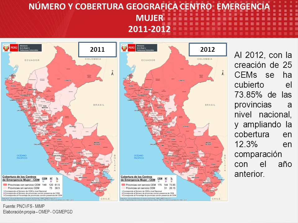NÚMERO Y COBERTURA GEOGRAFICA CENTRO EMERGENCIA MUJER 2011-2012