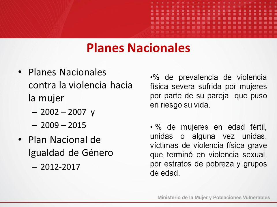 Planes Nacionales Planes Nacionales contra la violencia hacia la mujer