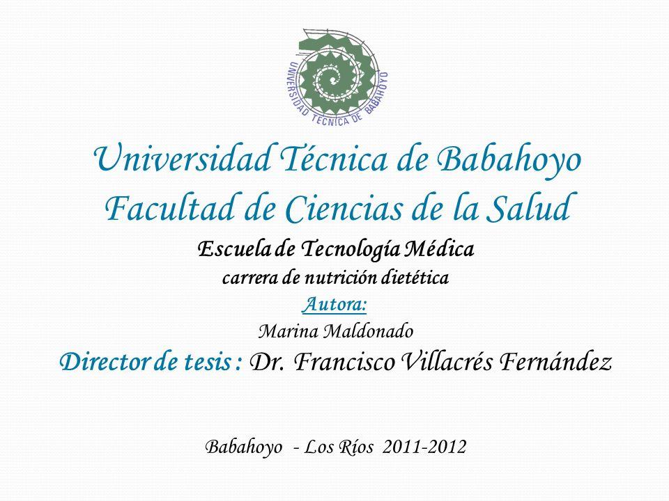 Escuela de Tecnología Médica carrera de nutrición dietética