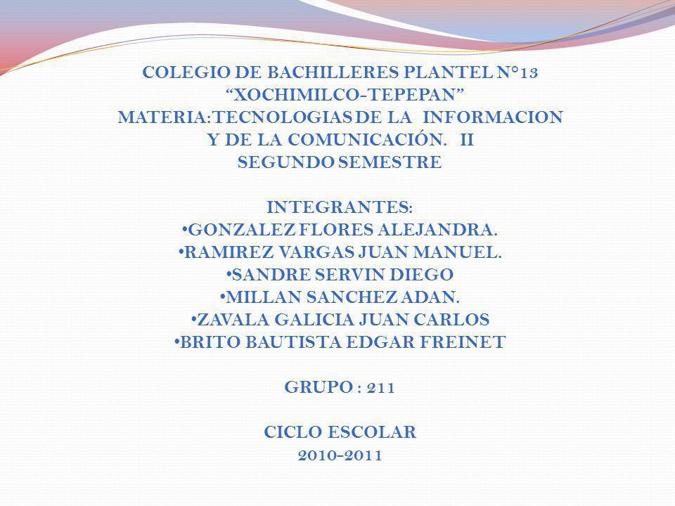 COLEGIO DE BACHILLERES PLANTEL N°13 XOCHIMILCO-TEPEPAN