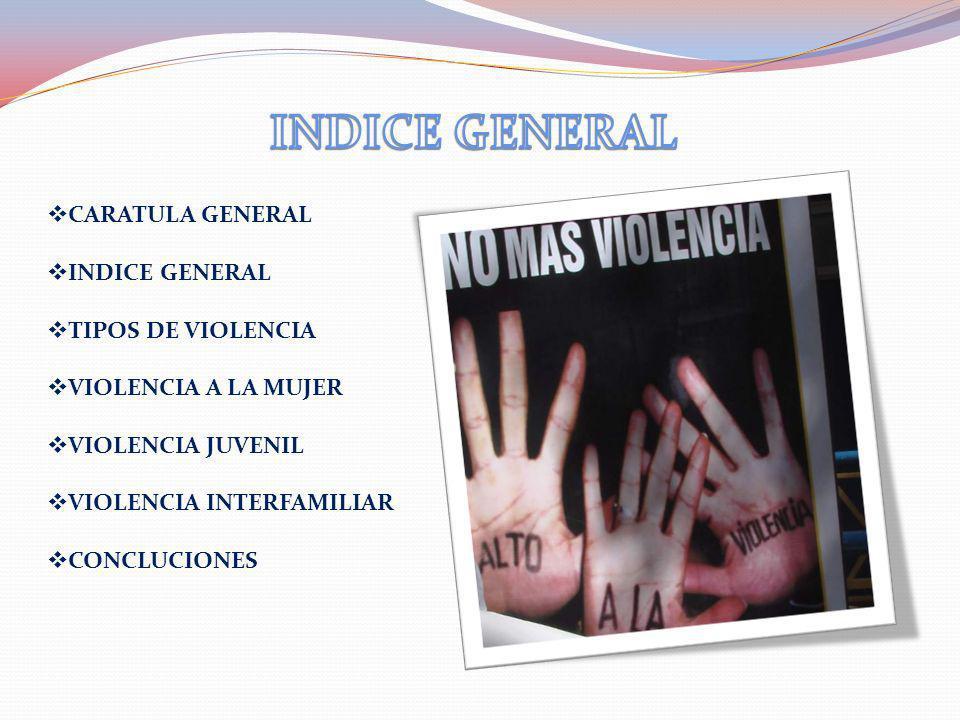 INDICE GENERAL CARATULA GENERAL INDICE GENERAL TIPOS DE VIOLENCIA
