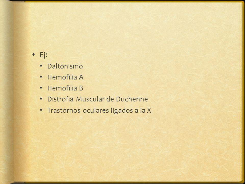 Ej: Daltonismo Hemofilia A Hemofilia B Distrofia Muscular de Duchenne