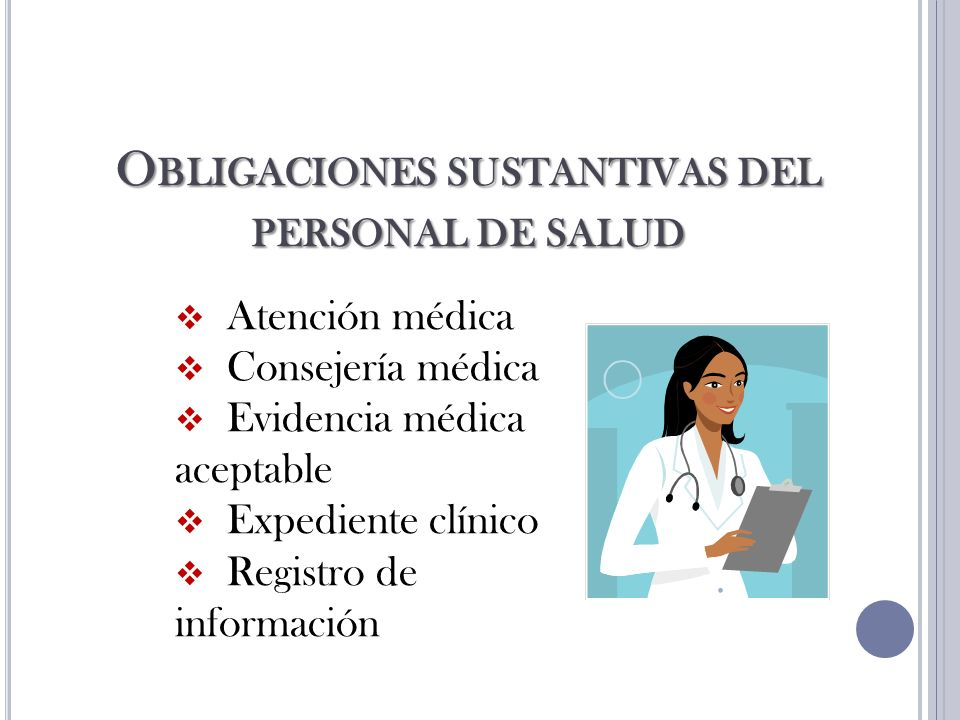 Obligaciones sustantivas del personal de salud