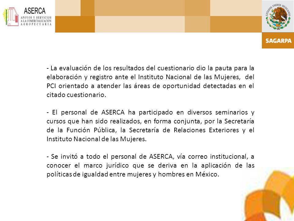 - La evaluación de los resultados del cuestionario dio la pauta para la elaboración y registro ante el Instituto Nacional de las Mujeres, del PCI orientado a atender las áreas de oportunidad detectadas en el citado cuestionario.