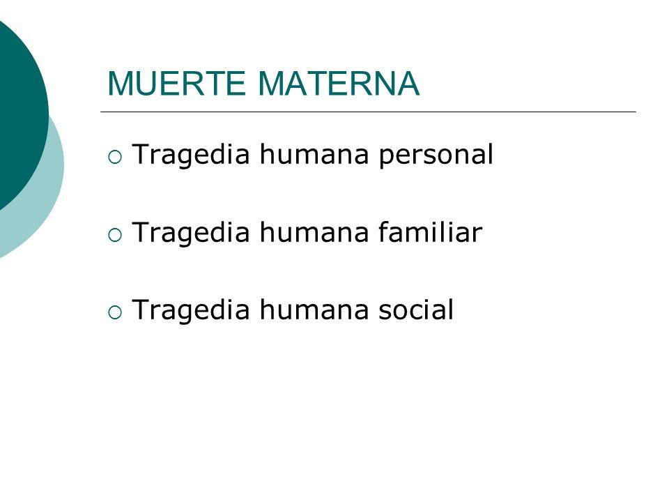 MUERTE MATERNA Tragedia humana personal Tragedia humana familiar