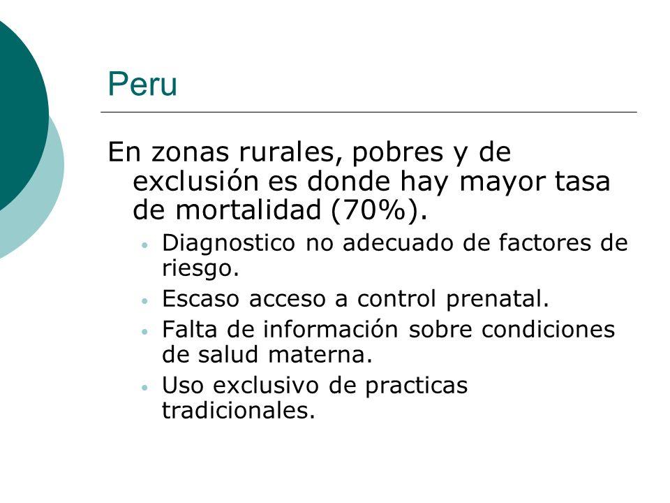 Peru En zonas rurales, pobres y de exclusión es donde hay mayor tasa de mortalidad (70%). Diagnostico no adecuado de factores de riesgo.