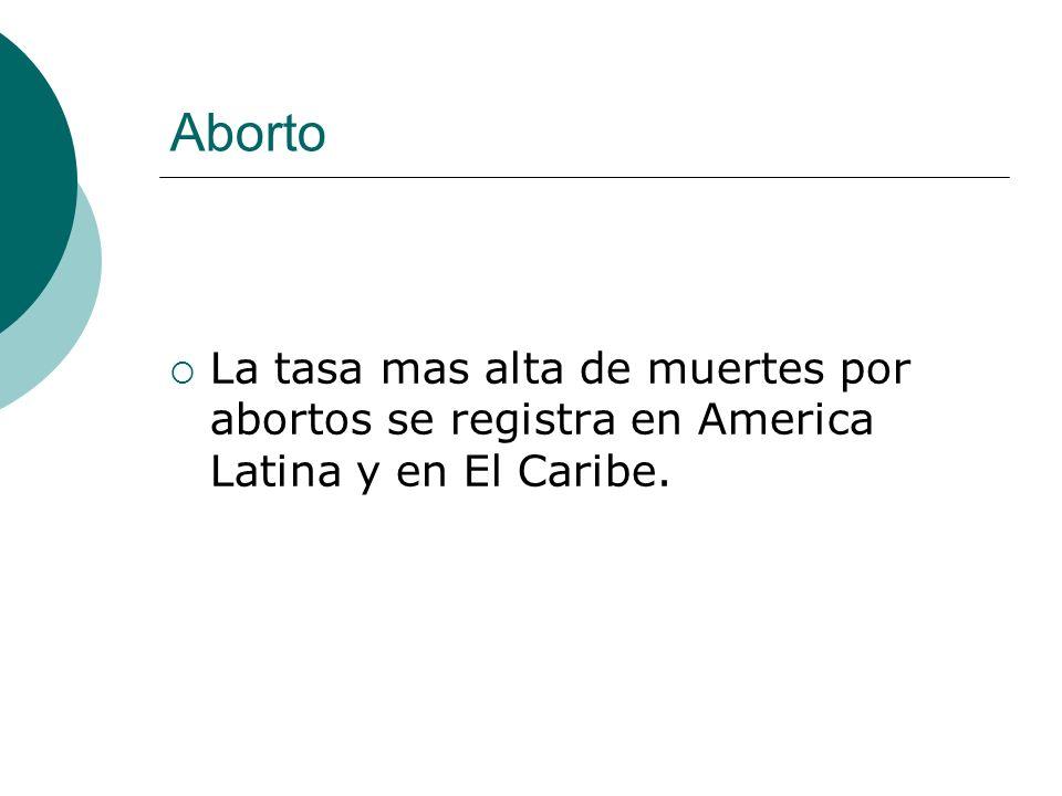 Aborto La tasa mas alta de muertes por abortos se registra en America Latina y en El Caribe.