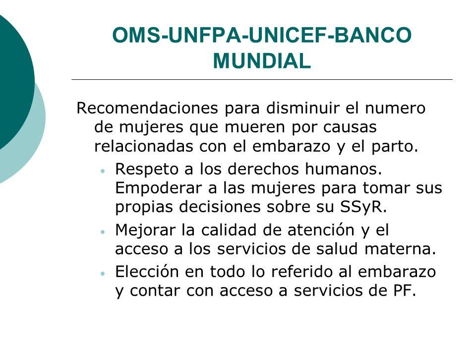 OMS-UNFPA-UNICEF-BANCO MUNDIAL