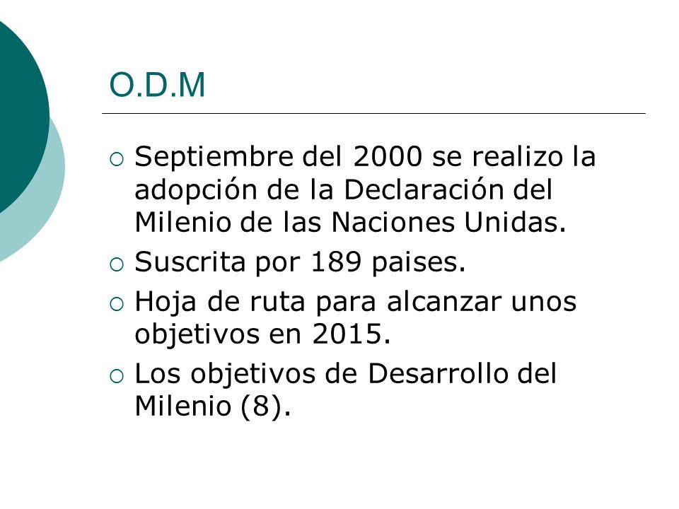 O.D.M Septiembre del 2000 se realizo la adopción de la Declaración del Milenio de las Naciones Unidas.