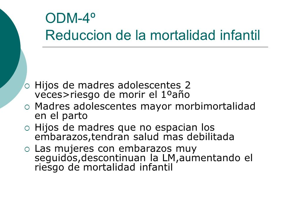 ODM-4º Reduccion de la mortalidad infantil