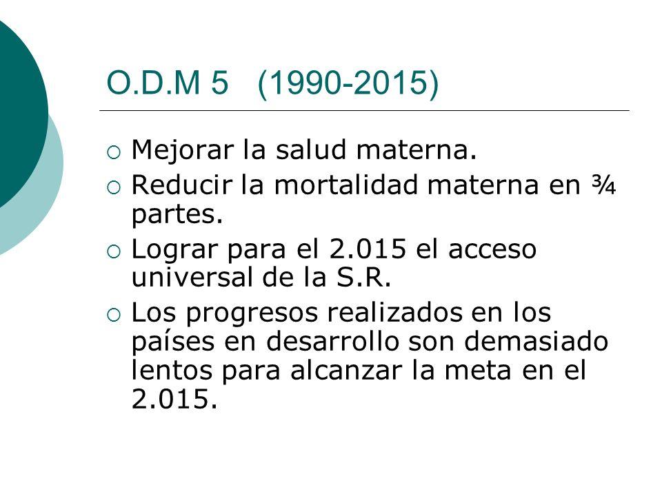 O.D.M 5 (1990-2015) Mejorar la salud materna.