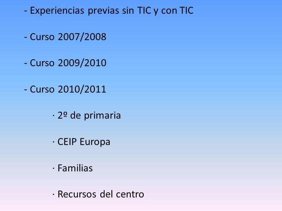 - Experiencias previas sin TIC y con TIC - Curso 2007/2008 - Curso 2009/2010 - Curso 2010/2011 · 2º de primaria · CEIP Europa · Familias · Recursos del centro