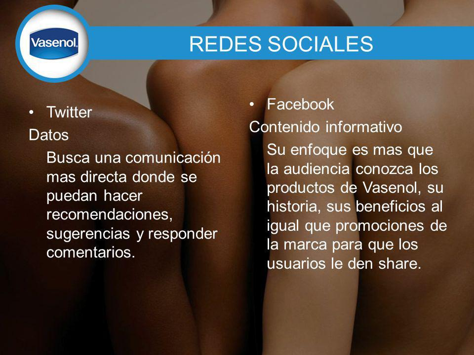 REDES SOCIALES Facebook Twitter Contenido informativo Datos