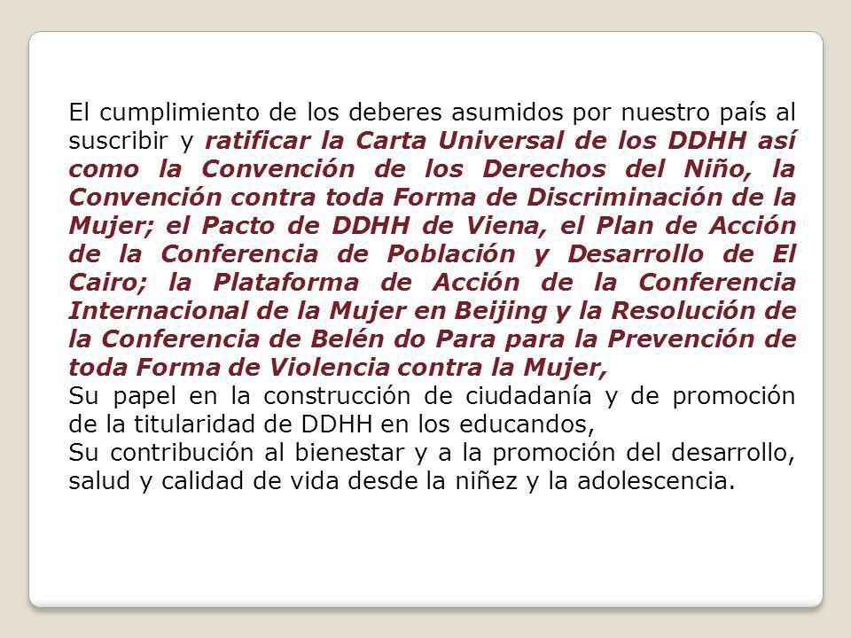 El cumplimiento de los deberes asumidos por nuestro país al suscribir y ratificar la Carta Universal de los DDHH así como la Convención de los Derechos del Niño, la Convención contra toda Forma de Discriminación de la Mujer; el Pacto de DDHH de Viena, el Plan de Acción de la Conferencia de Población y Desarrollo de El Cairo; la Plataforma de Acción de la Conferencia Internacional de la Mujer en Beijing y la Resolución de la Conferencia de Belén do Para para la Prevención de toda Forma de Violencia contra la Mujer,