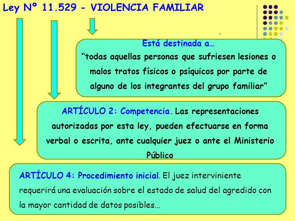 Ley Nº 11.529 - VIOLENCIA FAMILIAR
