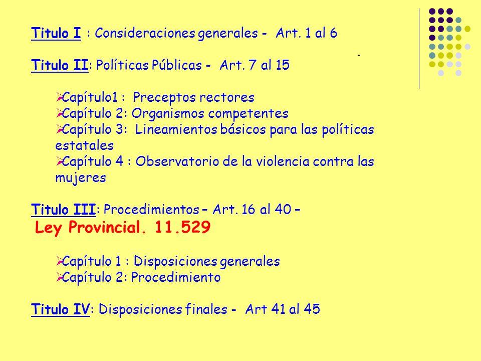 Titulo I : Consideraciones generales - Art. 1 al 6