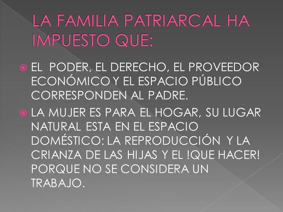 LA FAMILIA PATRIARCAL HA IMPUESTO QUE: