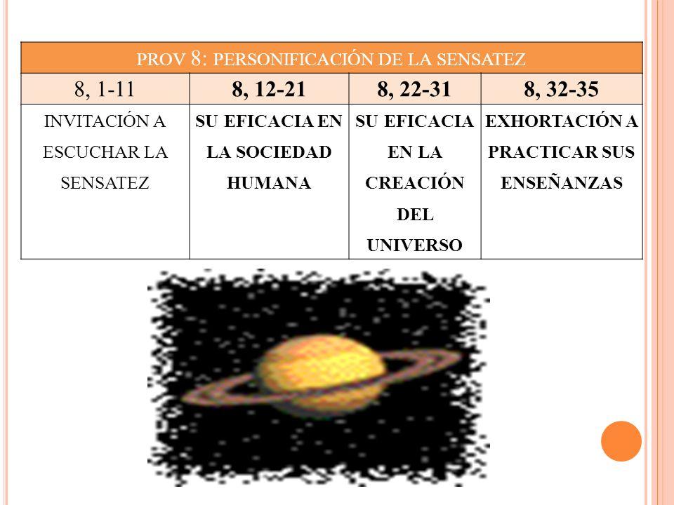 prov 8: personificación de la sensatez 8, 1-11 8, 12-21 8, 22-31