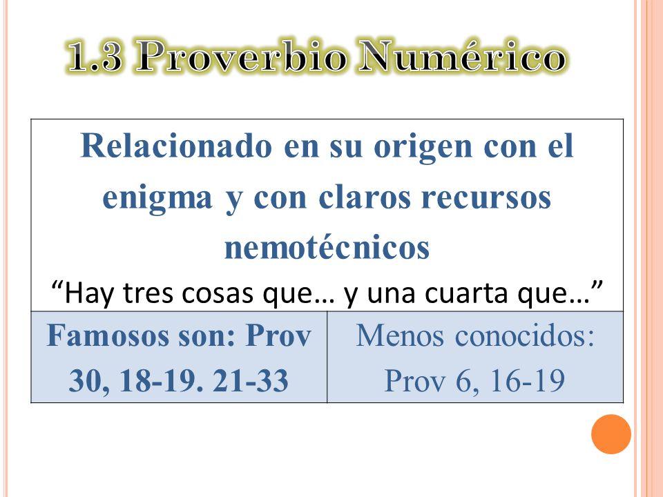 1.3 Proverbio Numérico Relacionado en su origen con el enigma y con claros recursos nemotécnicos. Hay tres cosas que… y una cuarta que…