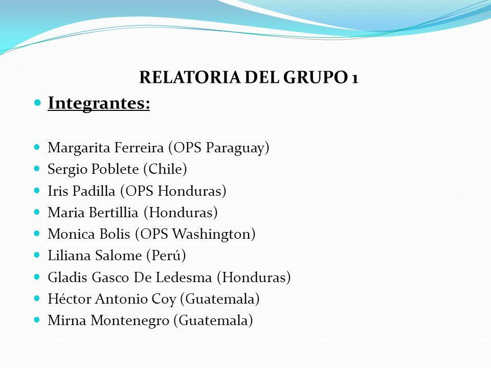 RELATORIA DEL GRUPO 1 Integrantes: Margarita Ferreira (OPS Paraguay)