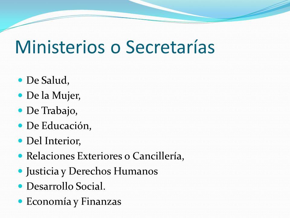 Ministerios o Secretarías