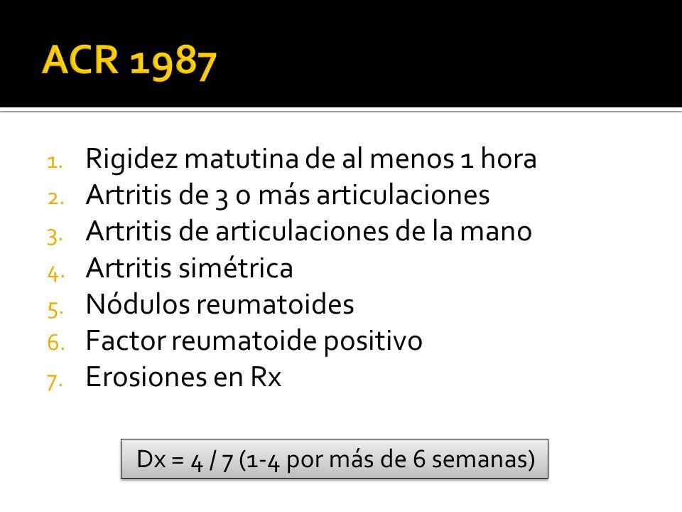 ACR 1987 Rigidez matutina de al menos 1 hora