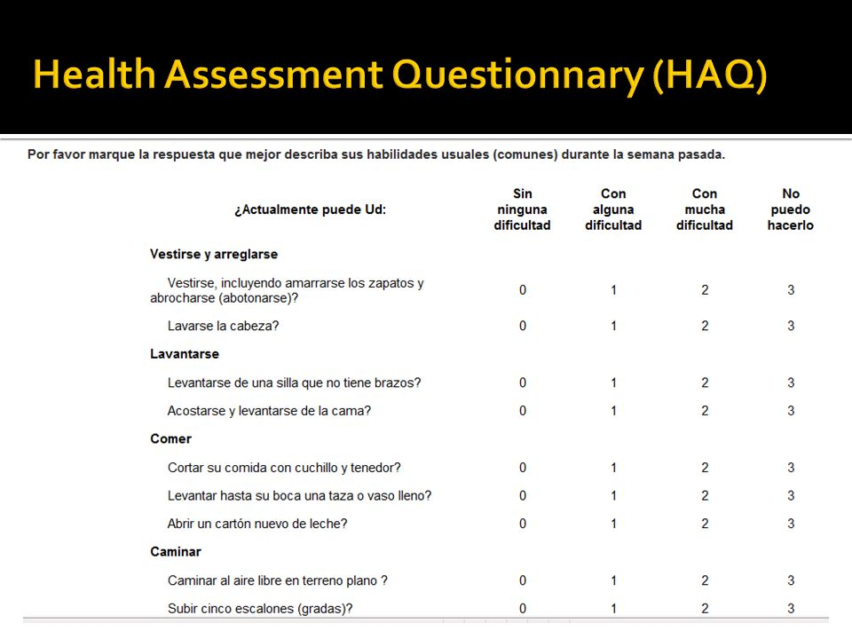 Health Assessment Questionnary (HAQ)