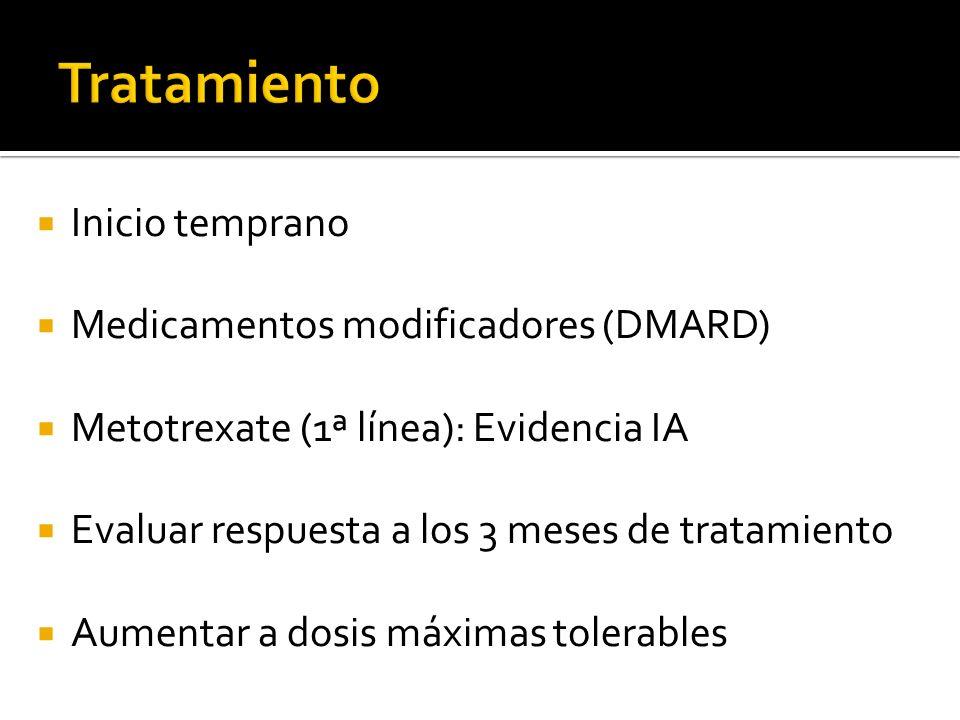 Tratamiento Inicio temprano Medicamentos modificadores (DMARD)