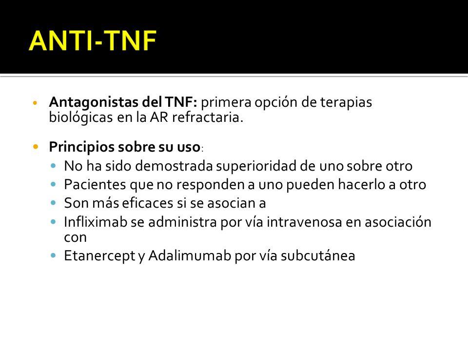 ANTI-TNF Antagonistas del TNF: primera opción de terapias biológicas en la AR refractaria. Principios sobre su uso: