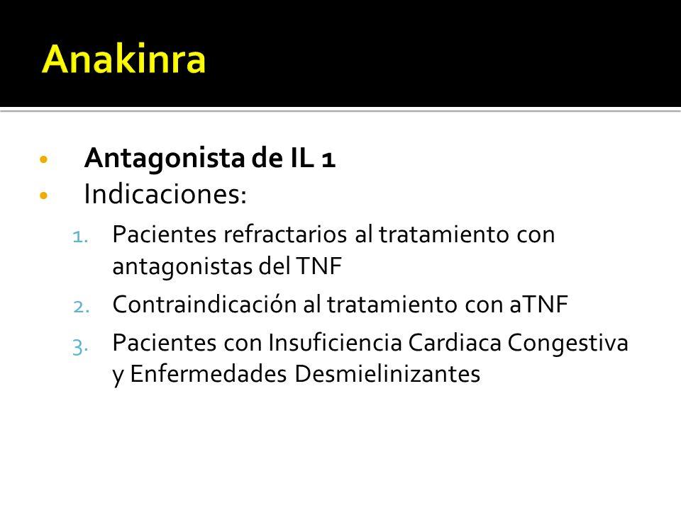Anakinra Antagonista de IL 1 Indicaciones: