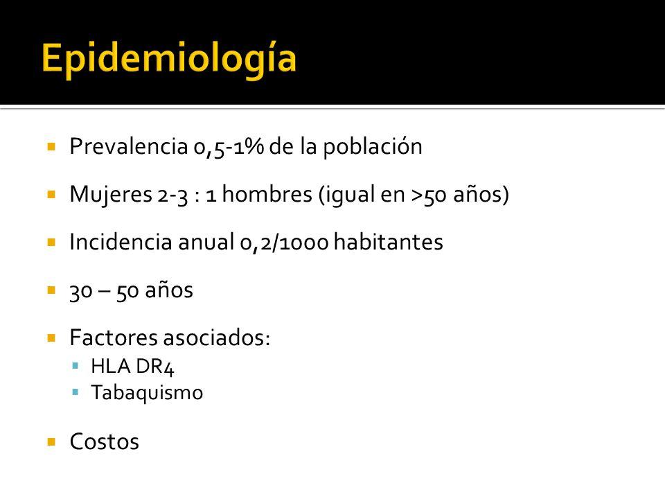 Epidemiología Prevalencia 0,5-1% de la población