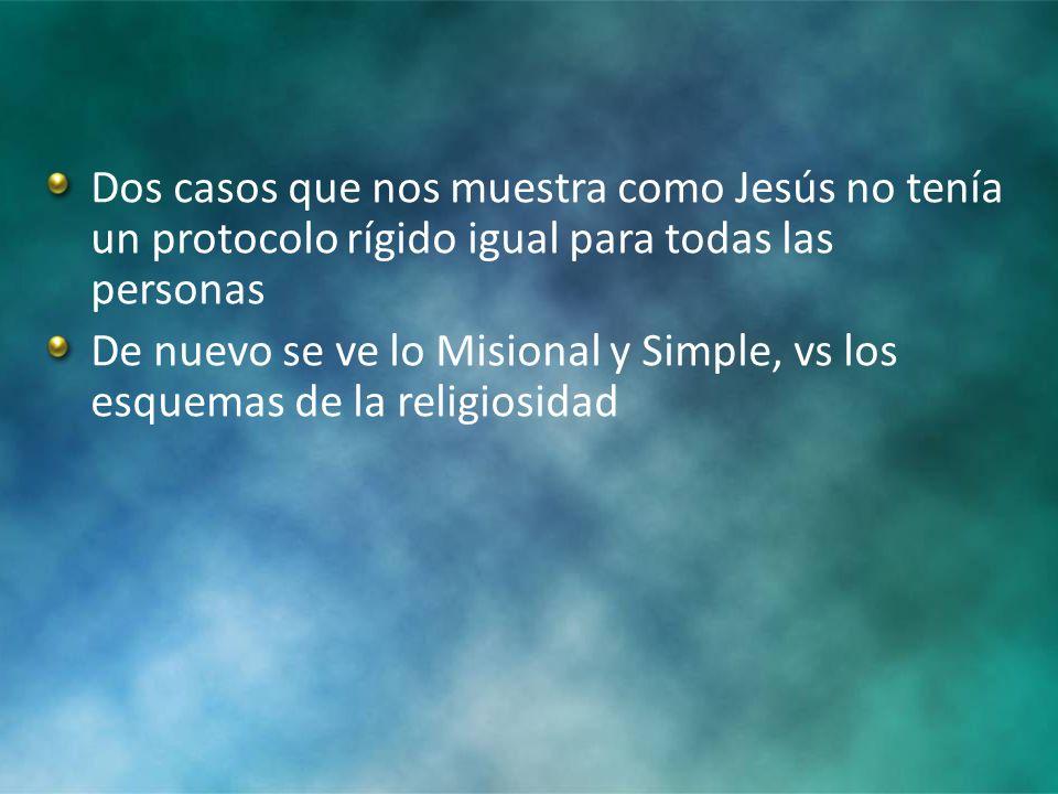 Dos casos que nos muestra como Jesús no tenía un protocolo rígido igual para todas las personas