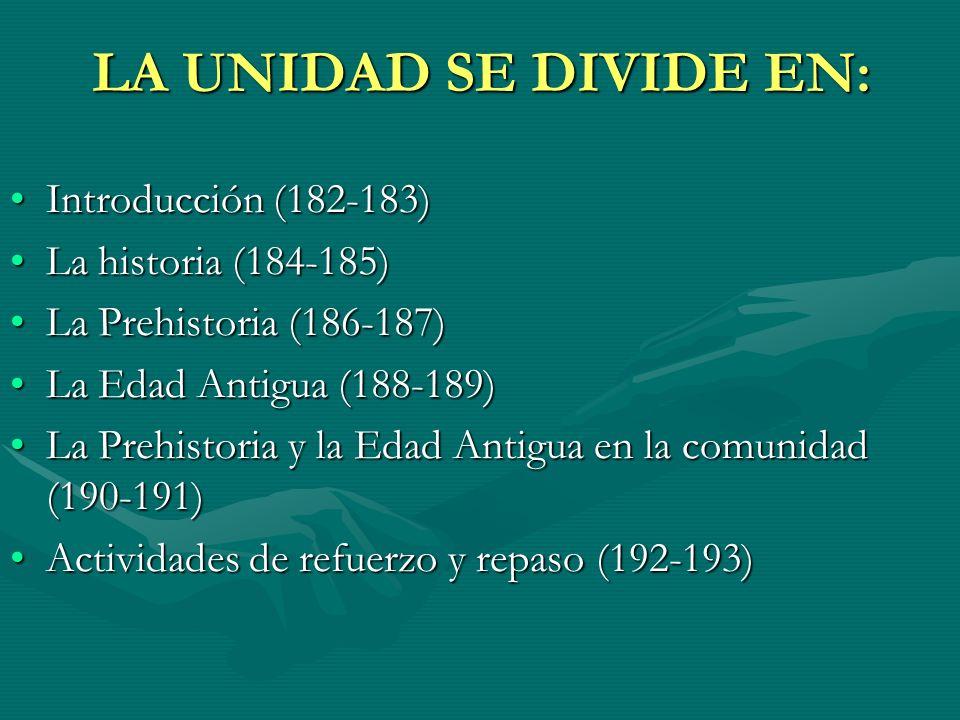 LA UNIDAD SE DIVIDE EN: Introducción (182-183) La historia (184-185)