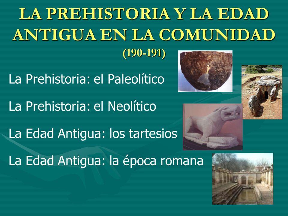 LA PREHISTORIA Y LA EDAD ANTIGUA EN LA COMUNIDAD (190-191)