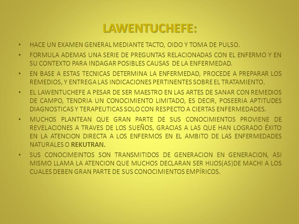 LAWENTUCHEFE: HACE UN EXAMEN GENERAL MEDIANTE TACTO, OIDO Y TOMA DE PULSO.