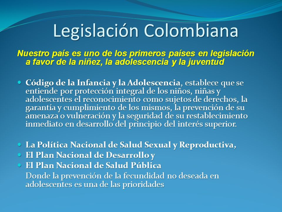 Legislación Colombiana
