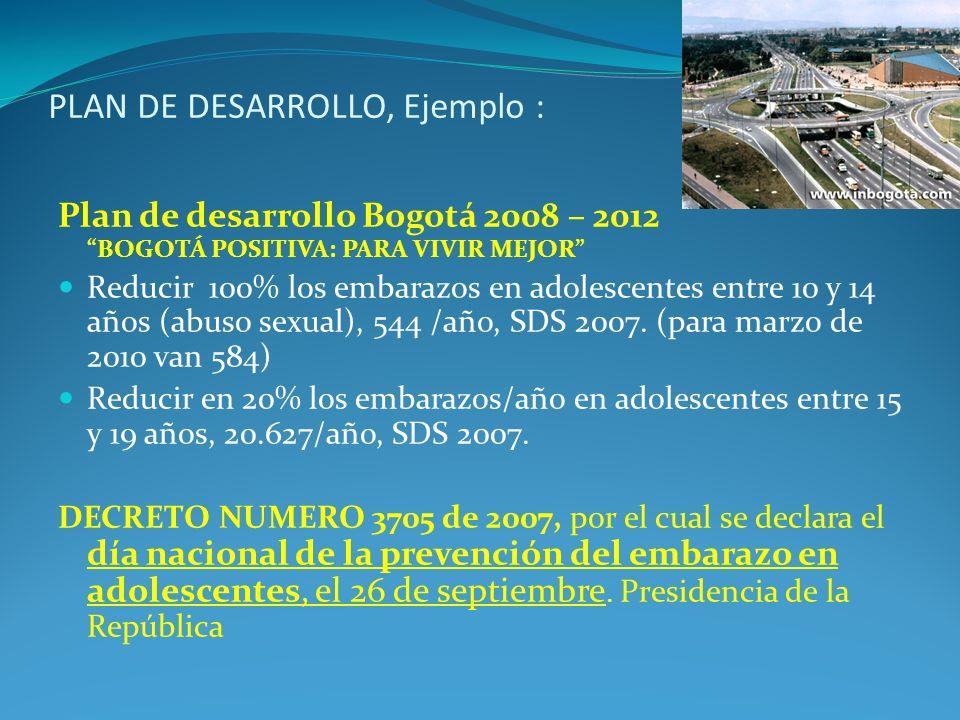 PLAN DE DESARROLLO, Ejemplo :