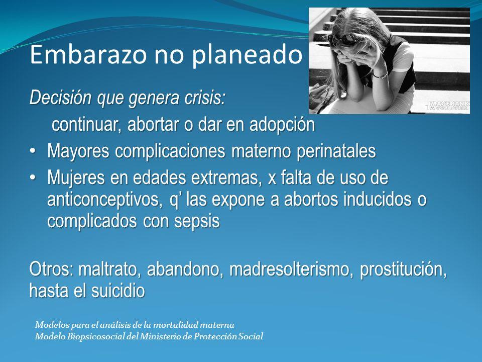 Embarazo no planeado Decisión que genera crisis: