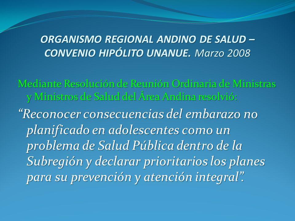 ORGANISMO REGIONAL ANDINO DE SALUD – CONVENIO HIPÓLITO UNANUE