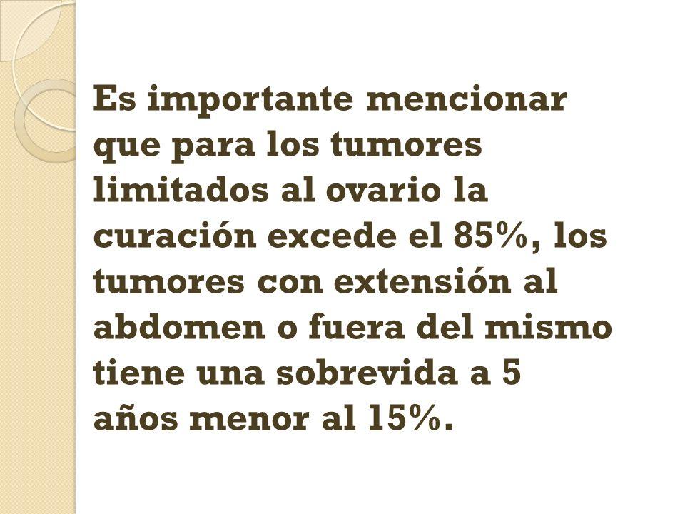 Es importante mencionar que para los tumores limitados al ovario la curación excede el 85%, los tumores con extensión al abdomen o fuera del mismo tiene una sobrevida a 5 años menor al 15%.